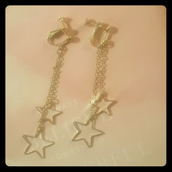 Screw on stars and chain earings